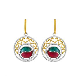 Dual Color Drop Handcrafted Silver Earring