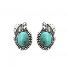 Leaf With Turquoise Stone Stud Earring