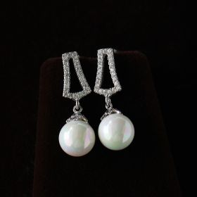 Elegant White Pearl Drop Earring With American Diamond