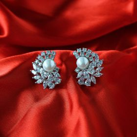 White Pearl Izaara Earring with Swarovski® Zirconia
