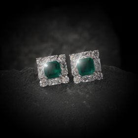 Square Green Izaara Earring with Swarovski Zirconia