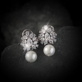 Beautiful Pearl Izaara Earring with Swarovski® Zirconia Stone