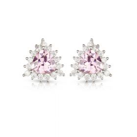 Izaara 92.5 Premium Silver Pink Triangle Diamond Earring