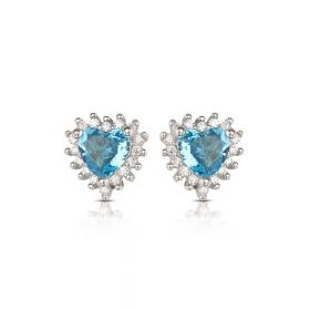 Izaara 92.5 Premium Silver Sky Blue Heart Earrings