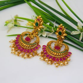 Izaara Gold Plated Fashion Hoop Earring with Pink Enamel for Girls and Women