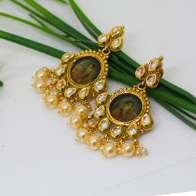 Izaara Gold Plated Fashion Earring with Golden Pearl for girls and Women