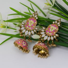 Izaara Ethnic Fashion Nude Enamel Dangal Earring with Pearls for Girls and Women