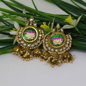 Izaara Ethnic Fashion Green Dangal Earring with Pearls for Girls and Women