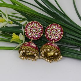 Izaara Ethnic Fashion Red  Enamel Long Jhumka  with Pearls For Girls And Women