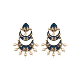Izaara Ethnic Fashion Blue Long Earring with Pearls for Girls and Women