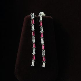 Simple White & Pink Silver Dangle Earring