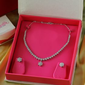 Izaara Premium Silver Swarovski Necklace Set