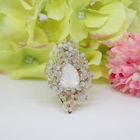 White & Crystal Party Wear Ring