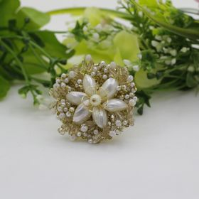 Cocktail Flower Shaped Pearl Ring
