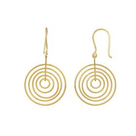 Gold Polished Spiral Silver Earring