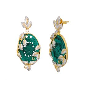 Stylish Green Stone & Gold Polish Silver Earring