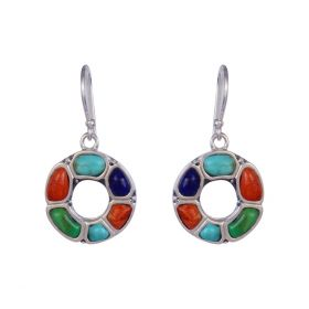 Turquoise Round Drop Silver Earring
