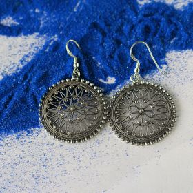 Oxidised Round Silver Earring