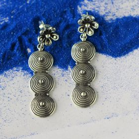 Spiral Sequin Drop Silver Earring