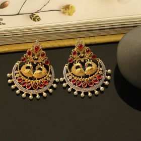 Rajasthani Silver Earring with Pearls & Stone