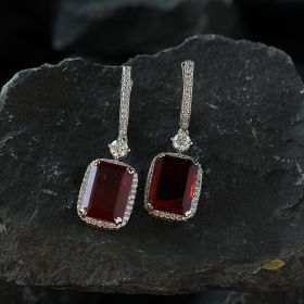 Red Hanging Izaara Earring with Swarovski Zirconia