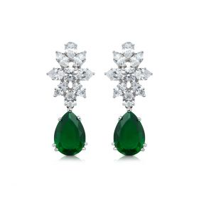 Green Dangle Izaara Earring with Swarovski® Zirconia