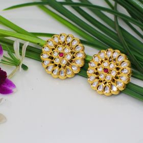 Izaara Gold Plated Fashion Round Earring with Pink Enamel for Girls and Women