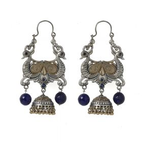 Izaara Oxidised Peacock Fashion Ethnic Hanging Earrings For Girls And Women