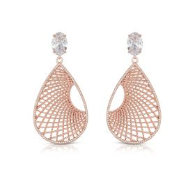 Izaara Premium Silver Studded Earrings With Diamond