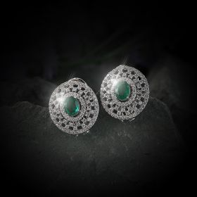 Oval Green & White Izaara Earring With Swarovski® Zirconia Stone