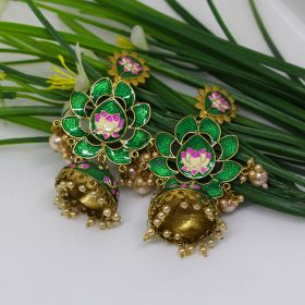 Izaara Oxidised Fashion Green Enamel Flower Jhumki Earring for Girls and Women
