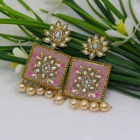 Izaara Ethnic Fashion Pink Enamel Square Earring with Pearls For Girls And Women