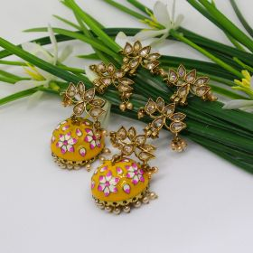 Izaara Ethnic Fashion Yellow Long Earring with Pearls for Girls and Women