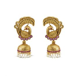 Izaara Gold Plated Fashion Peacock Jhumka Earring for Girls and Women
