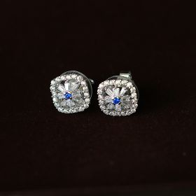 Blue & White Stud Silver Earring