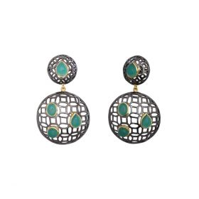 Round Earring With Turquoise Stone