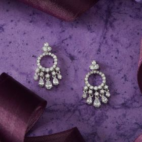 Izaara Premium Silver Earring Set with Zirconia From Swarovski